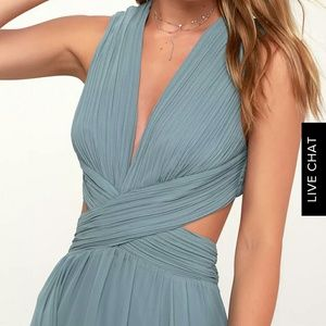 Lulu's VIVID IMAGINATION MAXI DRESS- Slate Blue